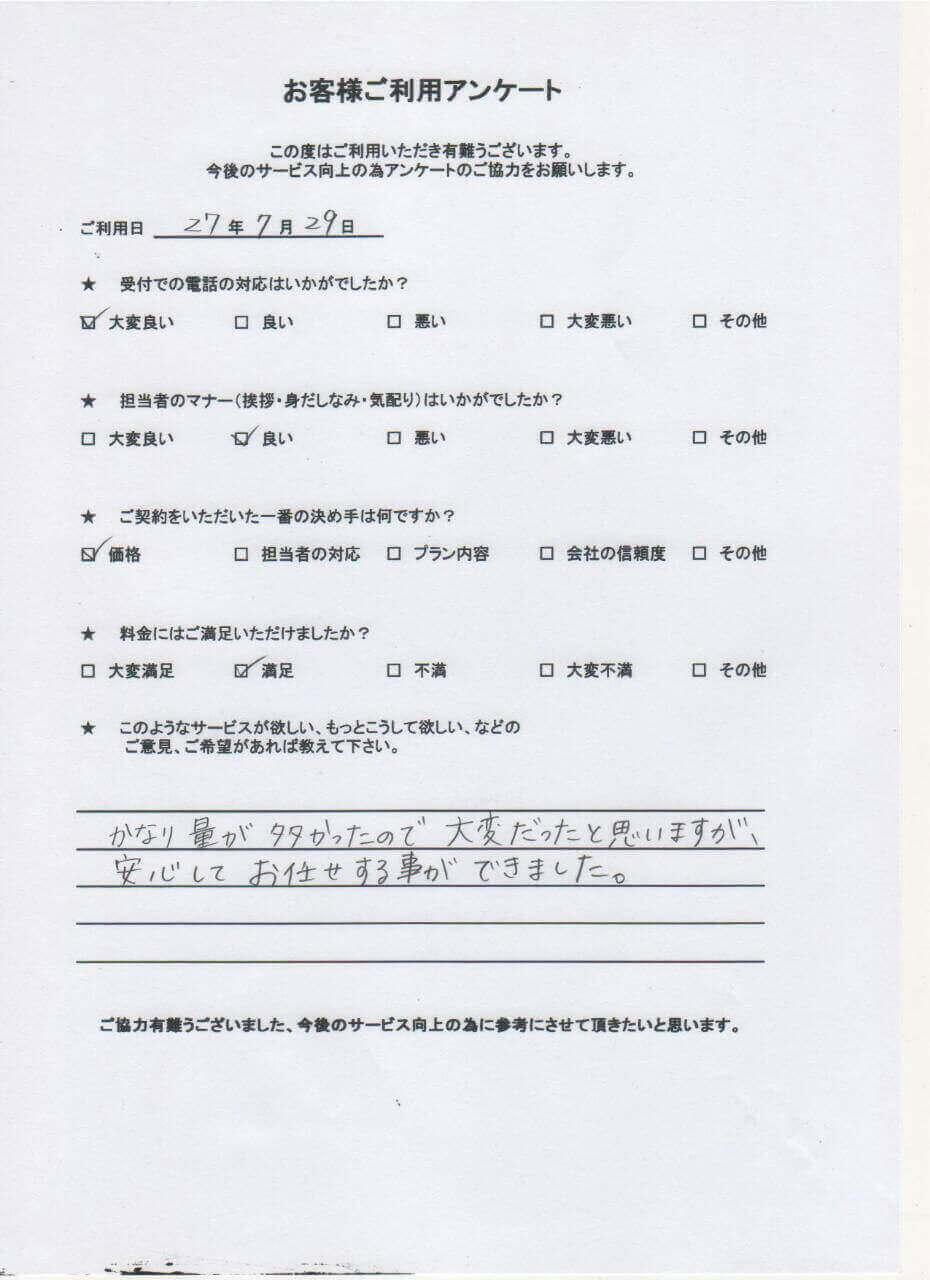 不用品回収・買取クリーンサービス九州をご利用いただいた方のアンケート