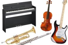 電子ピアノ・ギター、トランペット、アンプ、バイオリン、ドラムの回収・処分