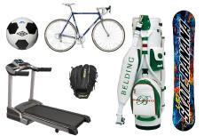 サッカーボール、自転車、ルームランナー、野球グローブ、ゴルフ用品、スノーボードなどのスポーツ用品回収